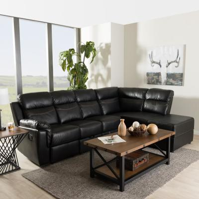 Roland 2-Piece Contemporary Black Faux Leather Upholstered Right Facing Chase Sectional Sofa