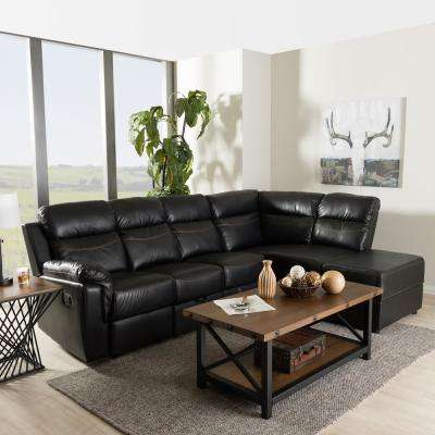 Roland 2 Piece Contemporary Black Faux Leather Upholstered Right Facing  Chase Sectional Sofa