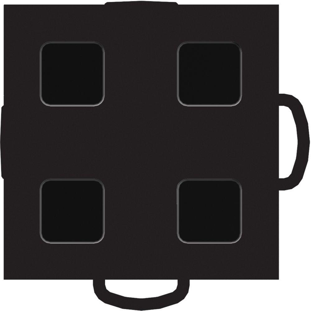 WeatherTech TechFloor 3 in. x 3 in. Black/Black Vinyl Flooring Tiles (4-Pack)