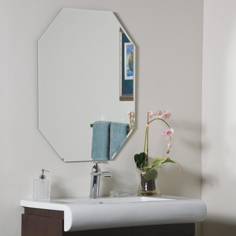 Decor Wonderland 32 in. x 24 in. Octagon single Frameless Bathroom Wall and  Vanity Mirror with Beveled Edge