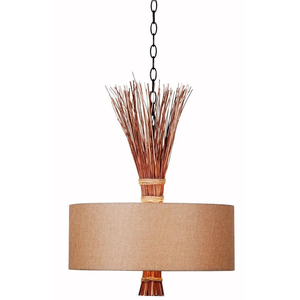 Kenroy Home Lighting Keen Bronze Pendant Light With Drum: Kenroy Home Sheaf 3-Light Oil Rubbed Bronze With Natural