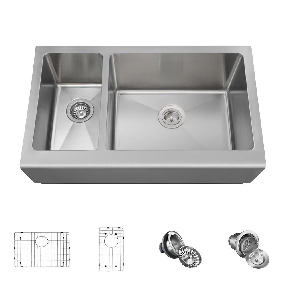 All-in-One Farmhouse Apron Front Stainless Steel 33 in. Right Double Bowl