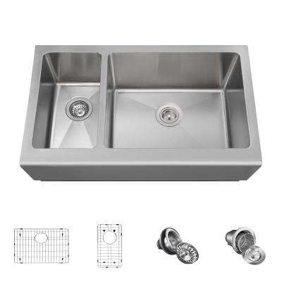 All-in-One Farmhouse Apron Front Stainless Steel 33 in. Right Double Bowl Kitchen Sink