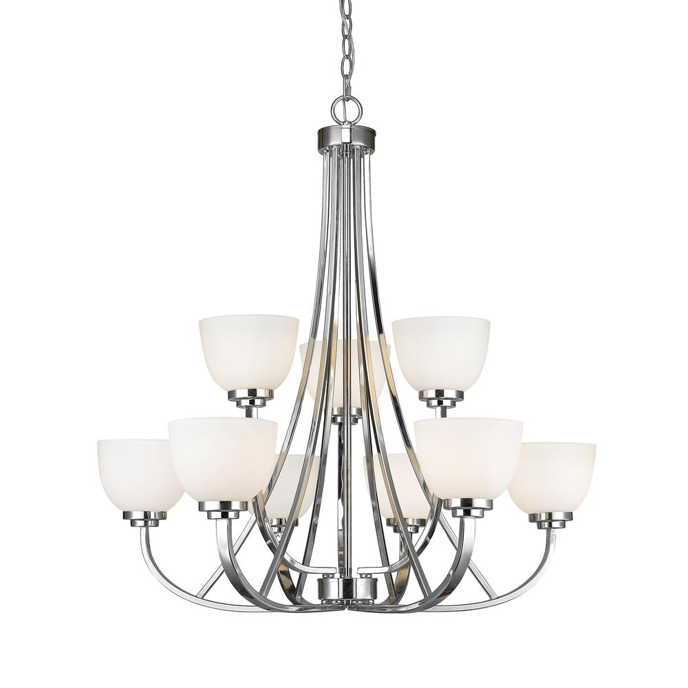 Burren 9-Light Chrome Chandelier with Matte Opal Glass Shade