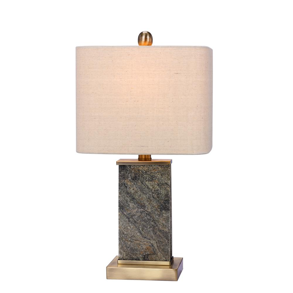 Fangio Lighting 19 In. Natural Stone And Antique Brass Table Lamp With  Stone And Metal