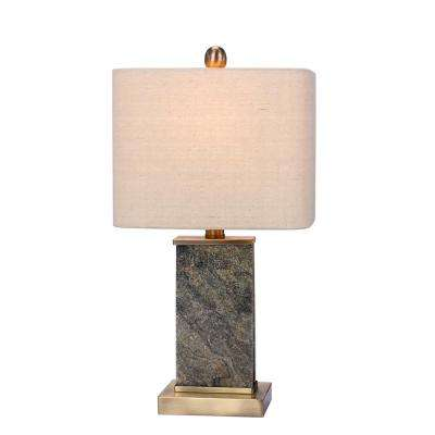 19 in. Natural Stone and Antique Brass Table Lamp with Stone and Metal