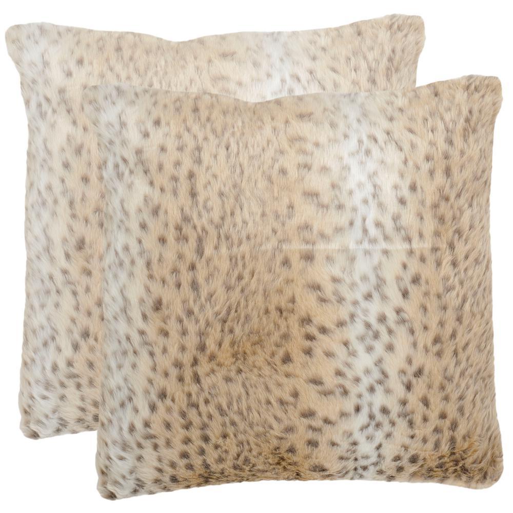 Safavieh Snow Leopard Faux Fur Pillow (2-Pack)