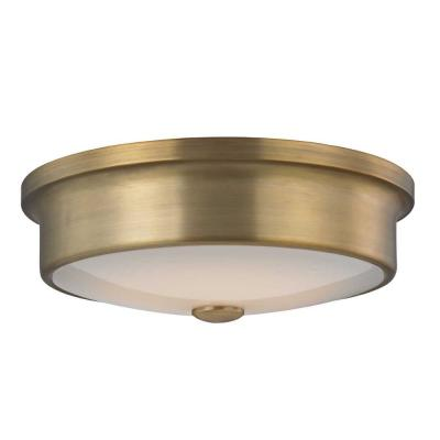 Versailles 12 in. Aged Brass LED Flush Mount Ceiling Light with White Glass Shade