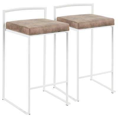 Fuji 26 in. White Stackable Counter Stool with Brown Cowboy Fabric Cushion (Set of 2)