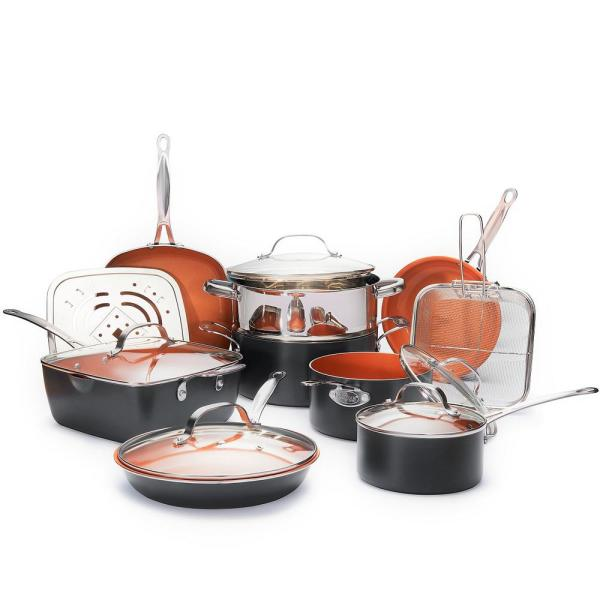 15-Piece Non-Stick Ti-Ceramic Cookware Set with Square Pans and Lids
