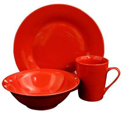 Carlton 12-Piece Red Dinnerware Set
