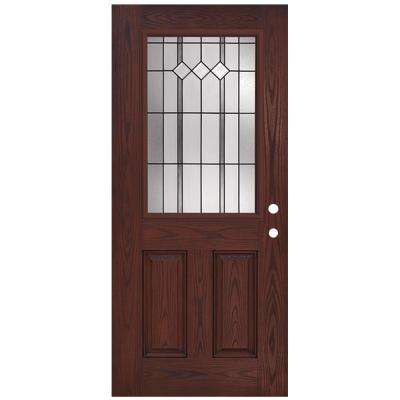 36 in. x 80 in. Classic Epic 1/2 Lite Rosewood Left-Hand Inswing Stained Fiberglass Prehung Front Door