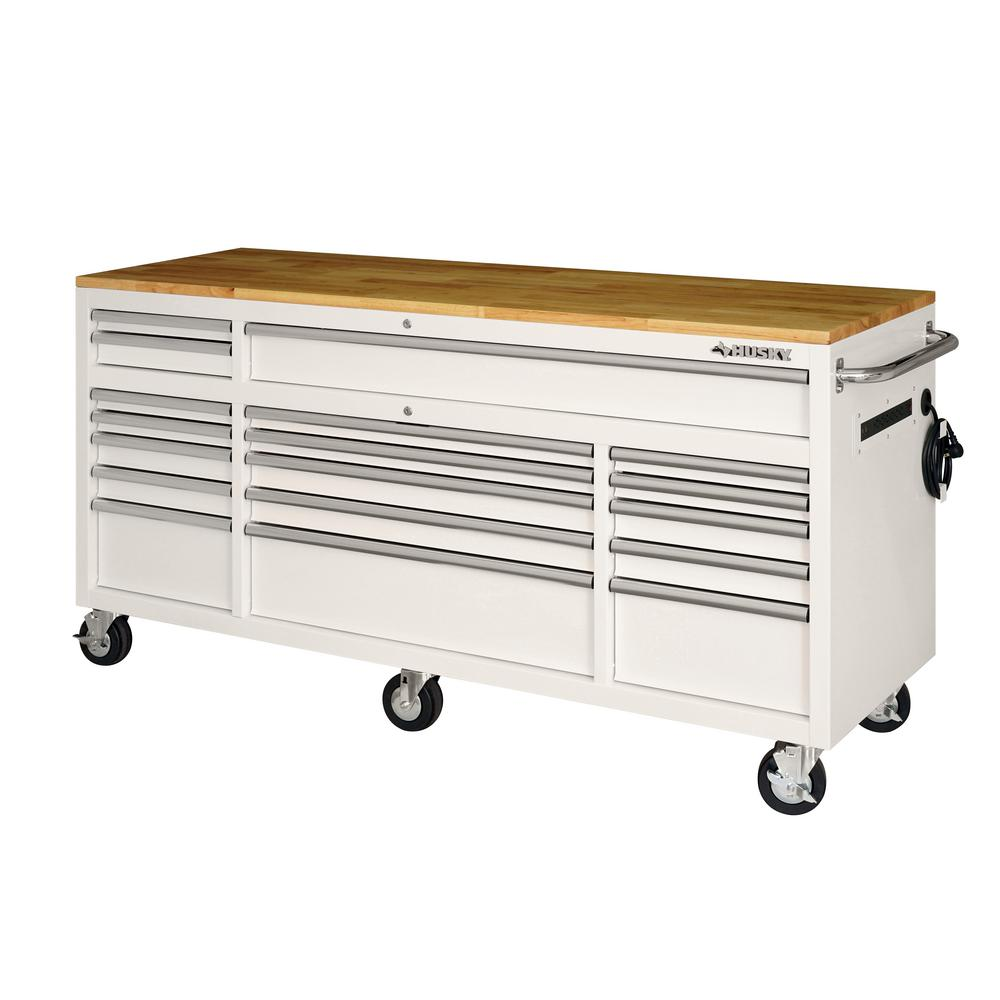 Husky 72 in. 18-Drawer Mobile Workbench with Solid Wood Top in Gloss White