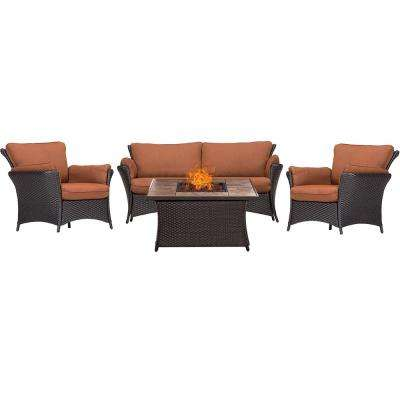 Strathmere Allure 4-Piece Wicker Patio Fire Pit Conversation Set with Tan Tile Top with Woodland Rust Cushions