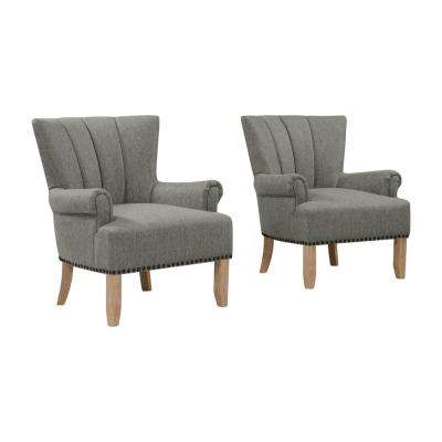 Munrow Granite Gray Rolled Arm Chairs (Set of 2)