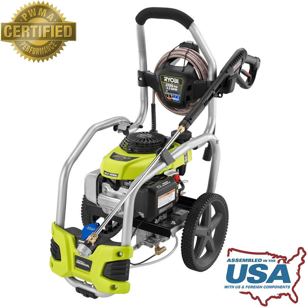 home depot pressure washers ryobi 3 100 psi 2 5 gpm honda gas pressure washer with 28665