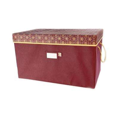Red Snowflake Print Polyester Multi Use Gift Box Style Storage