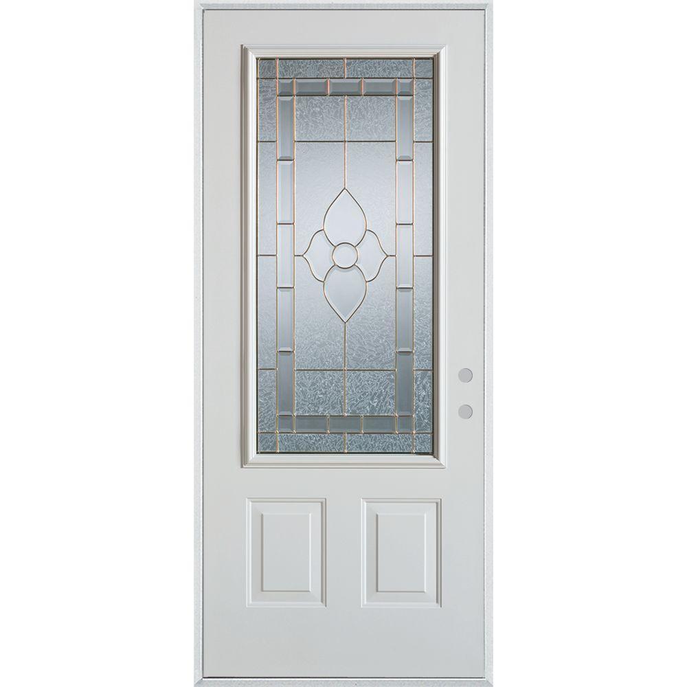 36 in. x 80 in. Traditional Zinc 3/4 Lite 2-Panel Prefinished White Left-Hand Inswing Steel Prehung Front Door