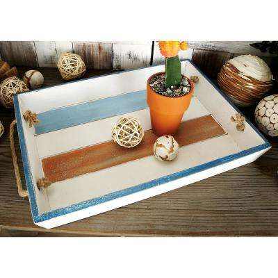 Multicolored Decorative Rectangular Trays with Brown Jute Rope Handles (Set of 3)