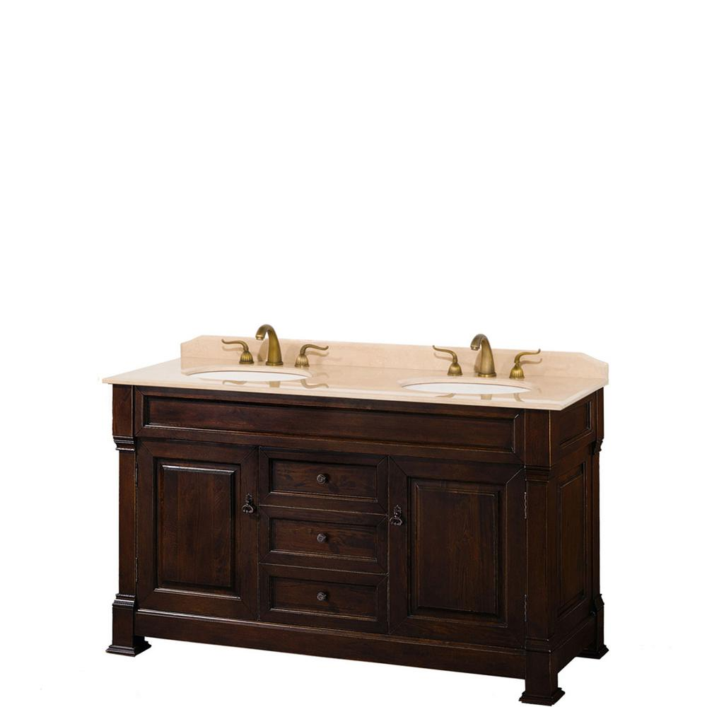 Wyndham Collection Andover 60 in. W x 23 in. D Bath Vanity in Dark Cherry with Marble Vanity Top in Ivory with White Basins