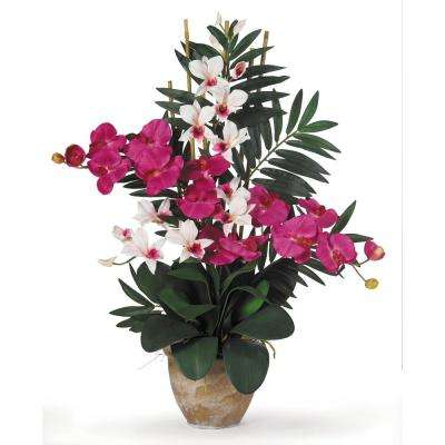 29 in. Double Phalaenopsis and Dendrobium Silk Flower Arrangement in Beauty and White