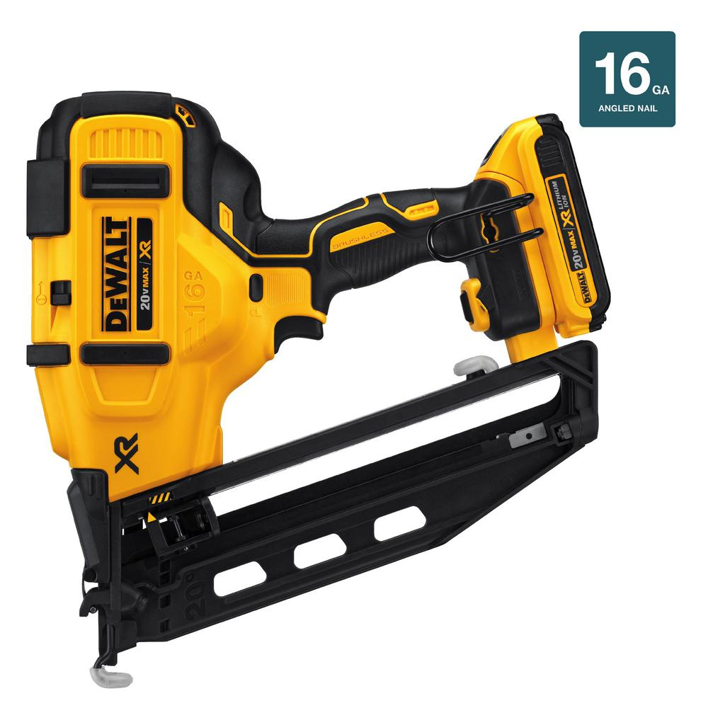 DEWALT 20-Volt Max 16-Gauge Cordless Angled Finish Nailer Kit ...