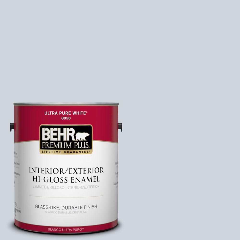 BEHR Premium Plus 1-gal. #740E-2 Misty Surf Hi-Gloss Enamel Interior/Exterior Paint