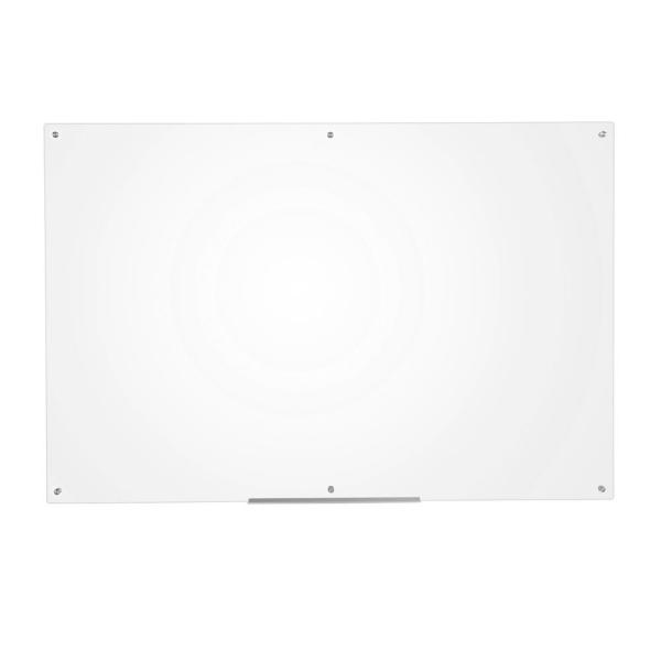 Eddington 39 in. x 59 in. Glass Dry Erase Board with Marker Tray in Clear