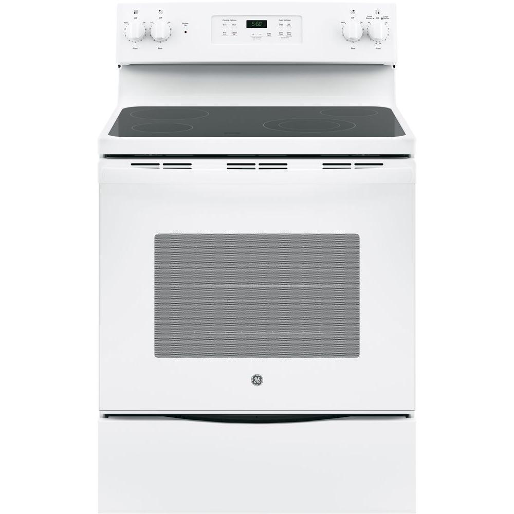 Ge 30 In 5 3 Cu Ft Electric Range White