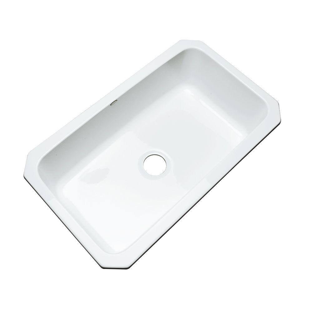 Thermocast Manhattan Undermount Acrylic 33 In. Single Bowl Kitchen Sink In  White 48000 UM   The Home Depot