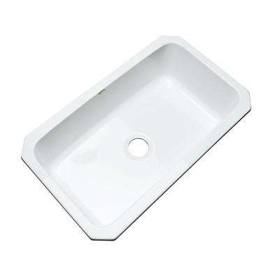 Manhattan Undermount Acrylic 33 in. Single Bowl Kitchen Sink in White