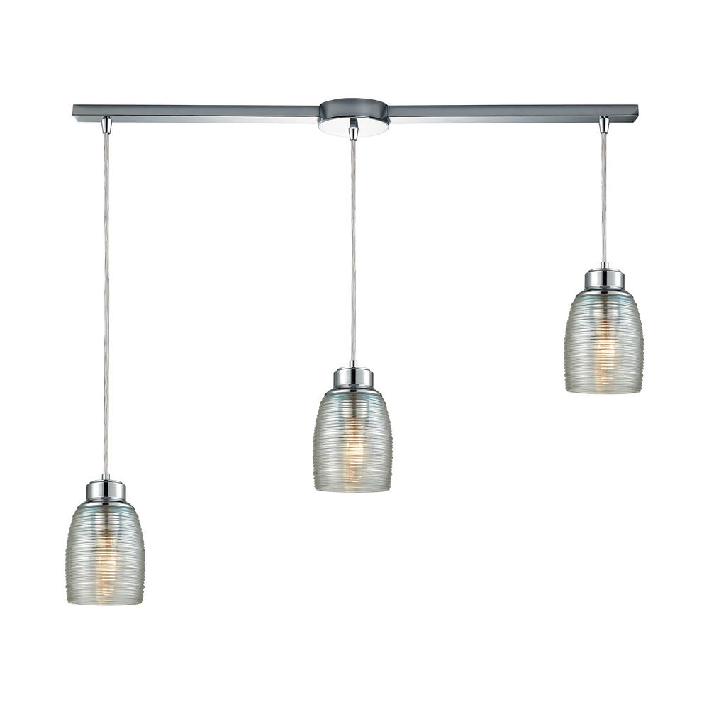 An Lighting Muncie 3 Light Linear Bar In Polished Chrome With Clear Spun Gl Pendant