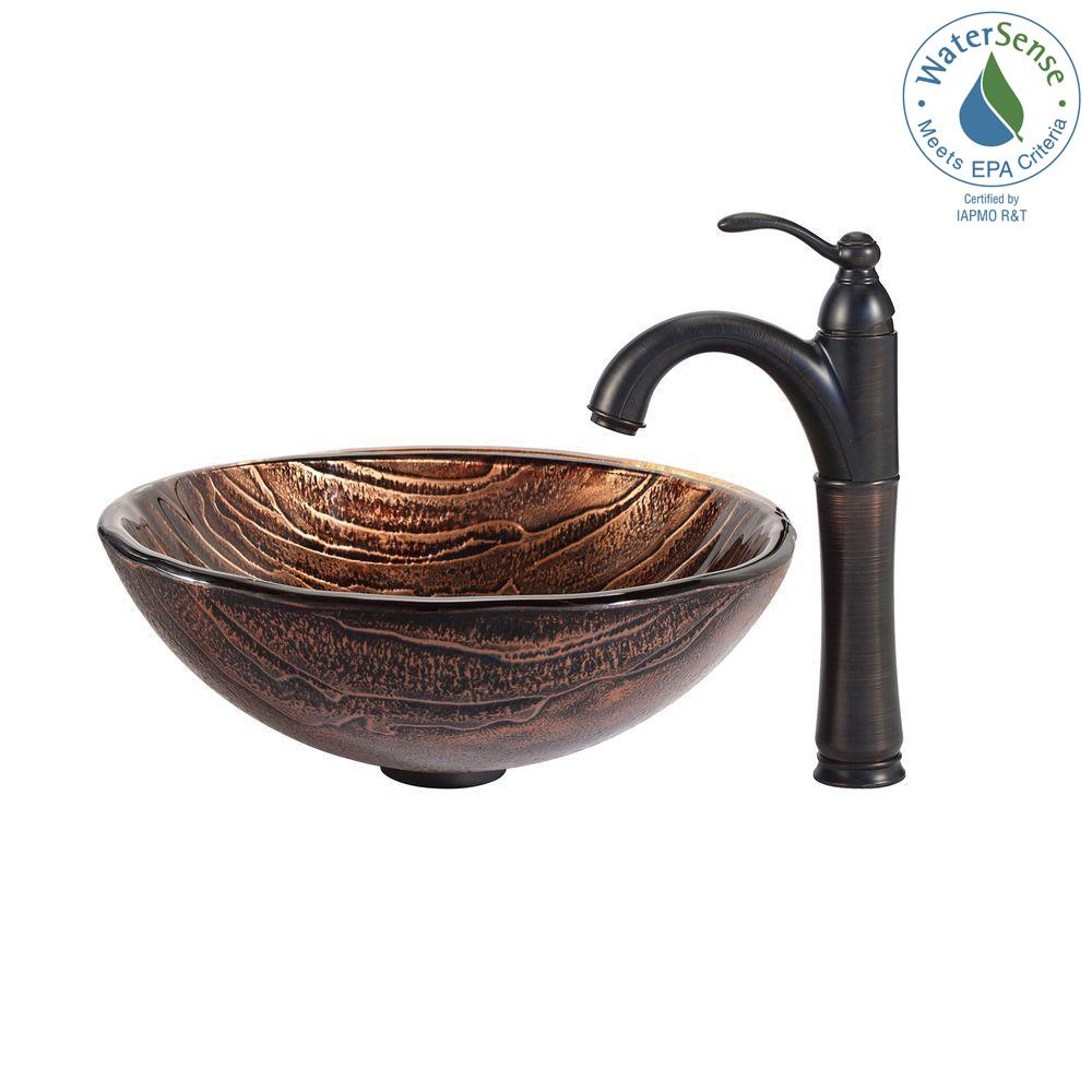 Gaia Glass Vessel Sink in Brown with Riviera Faucet in Oil