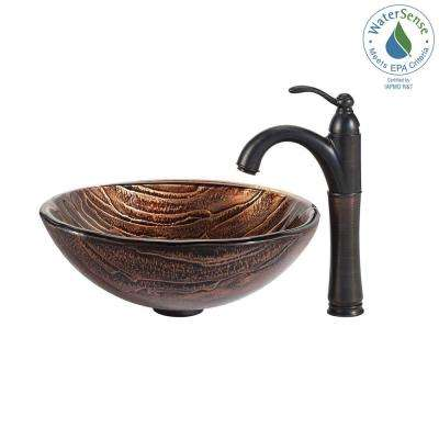 Gaia Glass Vessel Sink in Brown with Riviera Faucet in Oil Rubbed Bronze