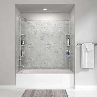 Colony 32 in. x 60 in. 5-Piece Glue-Up Alcove Wall Bath Set in Silver Celestial