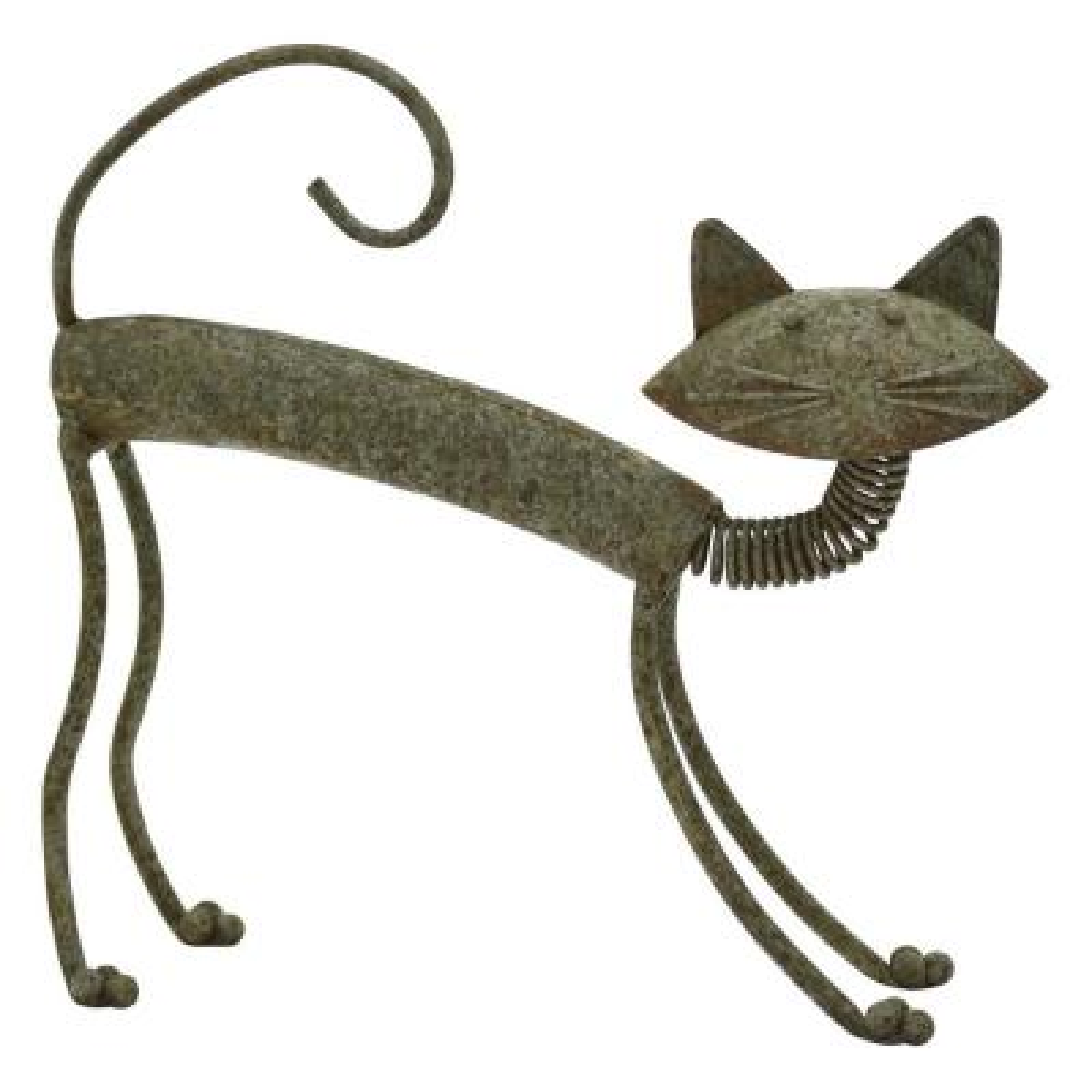 14.75 in. Metal Cat in Green