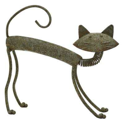 14.75 in. Metal Cat in Green