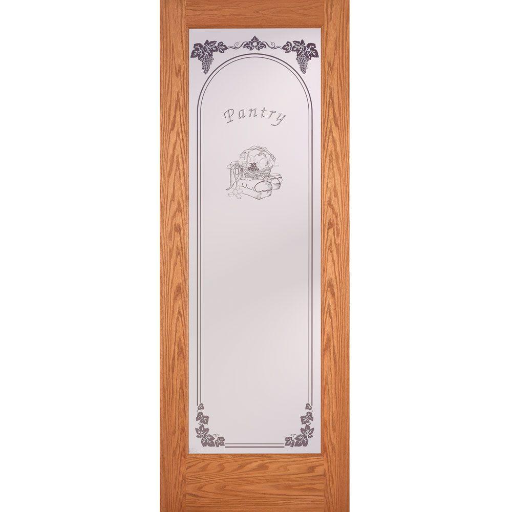 Feather River Doors 30 in. x 80 in. Pantry Woodgrain 1 Lite Unfinished Oak Interior Door Slab