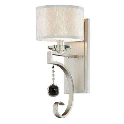 1-Light Silver Sparkle Silver Fabric Sconce