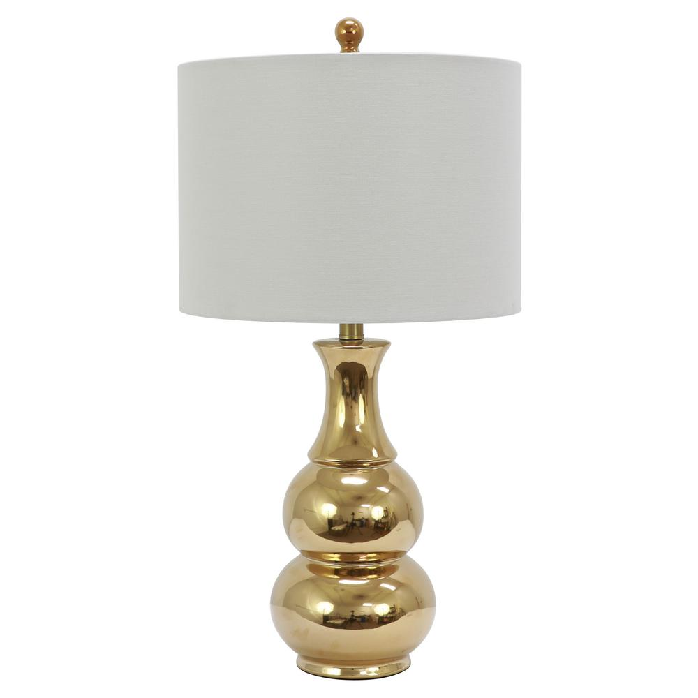 Crackle Ceramic 26.5 in. Plated Gold Table Lamp with Linen Shade