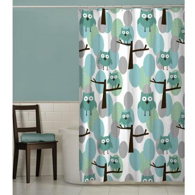70 in. x 72 in. Owl Fabric Shower Curtain