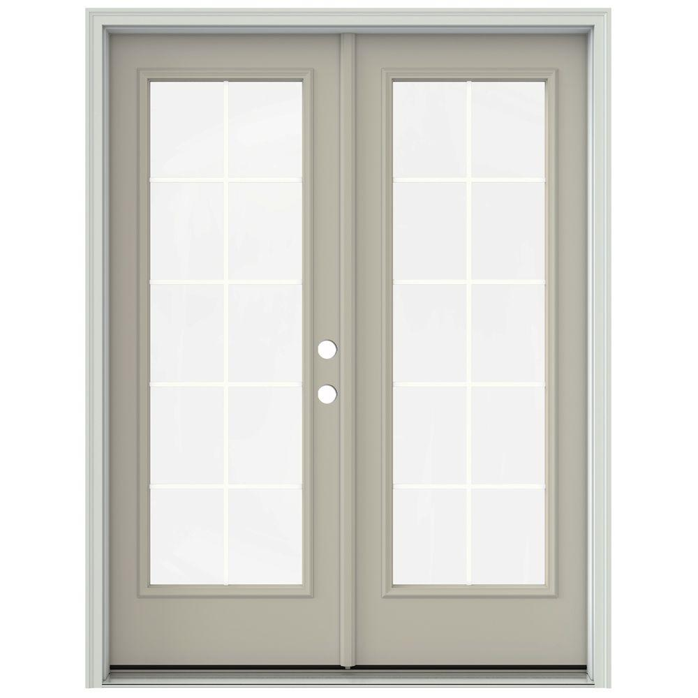 Jeld wen 60 in x 80 in desert sand prehung left hand for 8 foot french patio doors