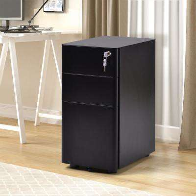 Black 3-Drawers File Cabinet Fully Assembled Except Wheels