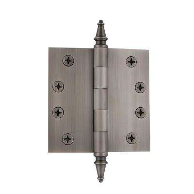 4 in. Steeple Tip Heavy-Duty Hinge with Square Corners in Antique Pewter