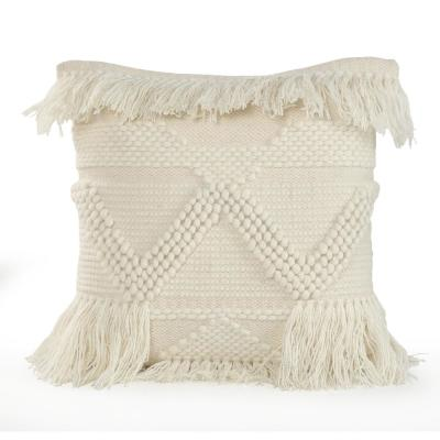 20 in. x 20 in. Ivory Glam Textured Fringe Standard Throw Pillow