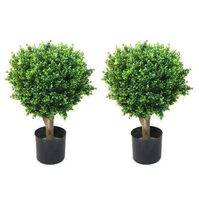 Artificial Large Potted Hedyotis Topiaries (Set of 2)