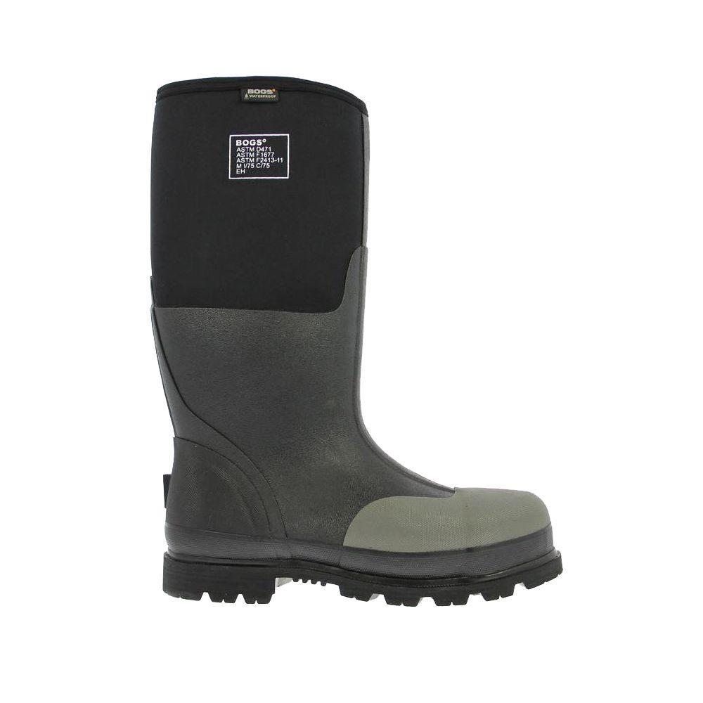 BOGS Forge Steel Toe Men 16 in. Size 8 Black Waterproof Rubber with Neoprene Boot