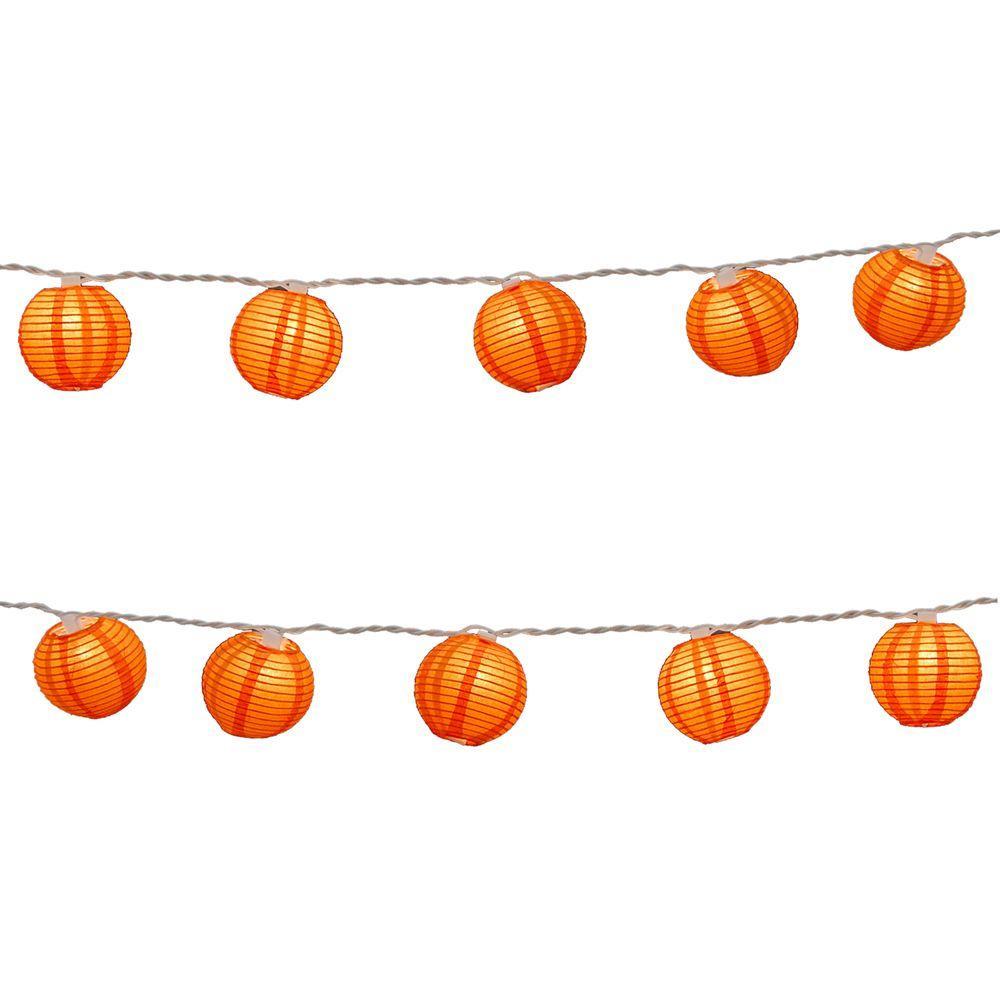 null Nylon Lantern String Lights in Orange