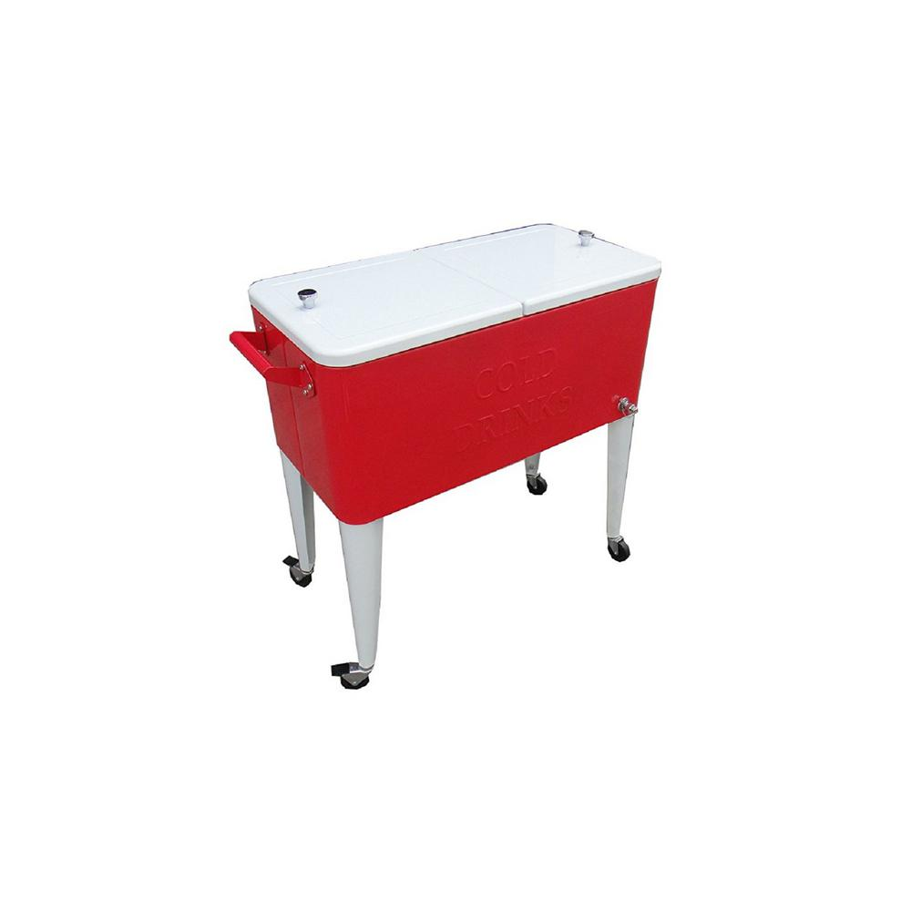 Permasteel 80 Qt. Rolling Patio Cooler Red And White
