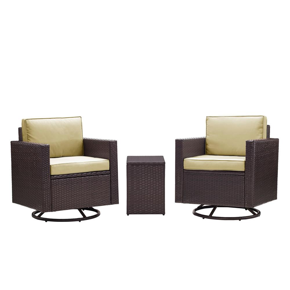 Wondrous Palm Harbor 3 Piece Wicker Patio Outdoor Conversation Set With Sand Cushions 2 Swivel Chairs And Side Table Andrewgaddart Wooden Chair Designs For Living Room Andrewgaddartcom